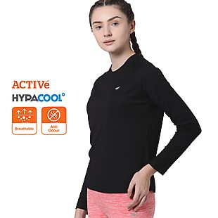 Wildcraft Women Hypacool Full Sleeve Poly Tee - Black